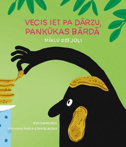 Viviannas Marias Stanislavskas vāka ilustrācija Ievas Samauskas grāmatai 'Vecis iet pa dārzu, pankūkas bārdā'