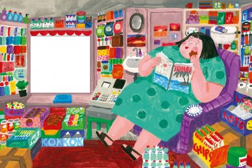Anetes Meleces ilustrācija savai grāmatai 'Kiosks'
